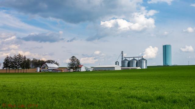 Farm House, Silos, and Fields