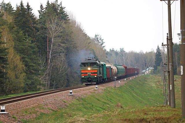 Тепловоз 2ТЭ10М-3552 с грузовым составом на перегоне Голынец/Вендриж.