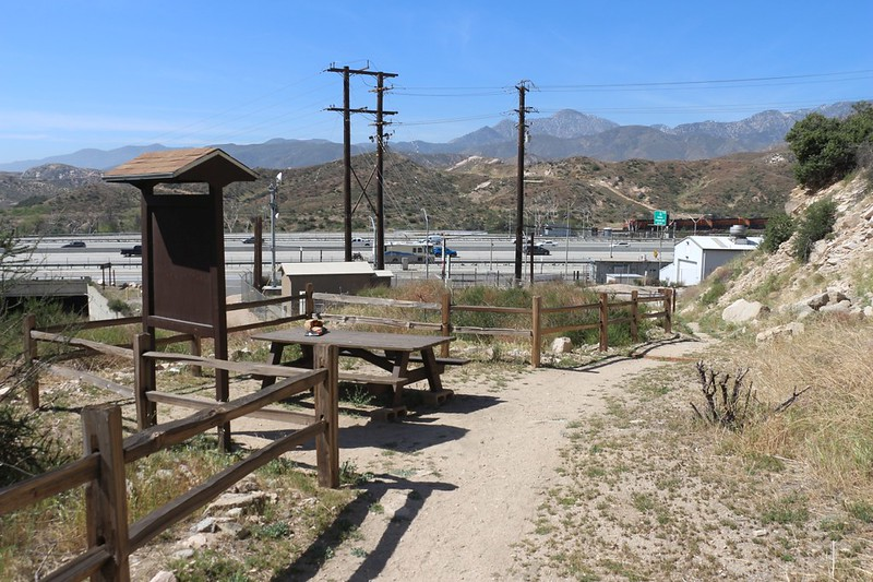 This is the fabled Picnic Table where the Pacific Crest Trail meets Interstate 15 - the local McDonalds is just up the road