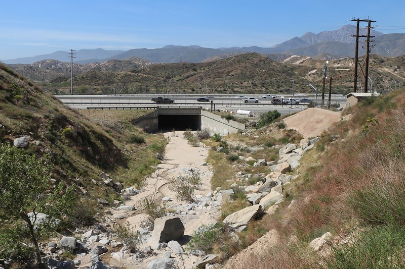 The underpass on I-15 where the PCT goes beneath the freeway along Crowder Creek - but our day's hike was done