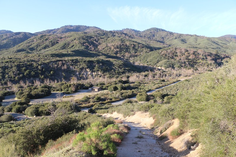 View back down toward Cleghorn Road and the Silverwood Lake Group Camps from the steep shortcut road