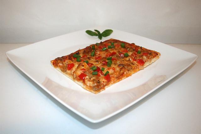 18 - Gyros bell pepper onion pizza - Side view / Gyros Paprika Zwiebel Pizza - Seitenansicht