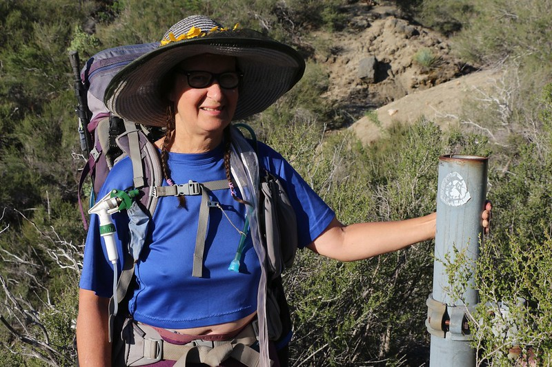 We came to an old metal road gate and discovered an ancient faded PCT sticker on the post - this used to be the PCT! It's like we weren't really cheating anymore. ha ha