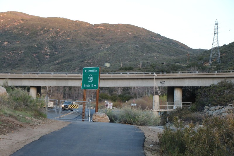 We arrived at Highway 138 where the PCT crosses under the bridge, alongside the West Fork Mojave River
