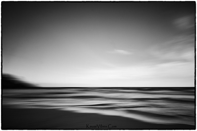 Kealia Beach in Black & White at Sunset; Abstract.