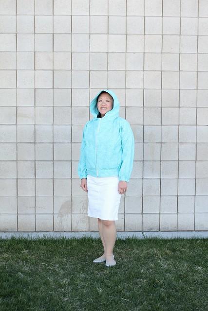 Hey June Wheaton Windbreaker (with Chalk and Notch Joy Jacket Pockets)  in Raspberry Creek Fabrics boardshort by replicate then deviate