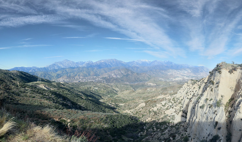 Panorama view west toward Baldy and the San Gabriel Mountains from the top of Horsethief Canyon