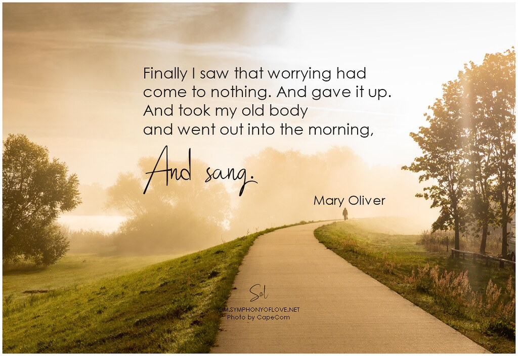 Mary Oliver Finally I saw that worrying had come to nothing. And gave it up. And took my old body and went out into the morning, and sang.