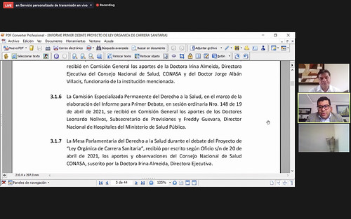 COMISIÓN DEL DERECHO A LA SALUD. ECUADOR, 03 DE MAYO 2021