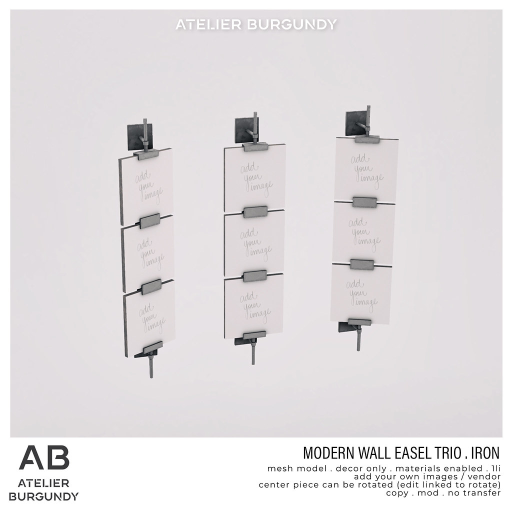 Atelier Burgundy . Modern Easel Trio lron