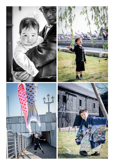 愛知県半田市の運河でロケーションフォト 七五三 鯉のぼりの季節