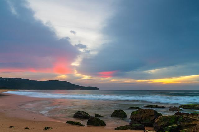 Soft high cloud sunrise seascape