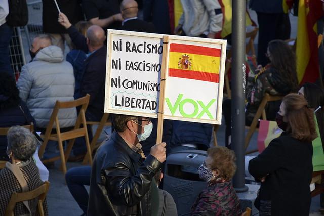 Mitin de cierre de campaña electoral del 4M de VOX con Garriga, Monasterio y Abascal en Plaza Colón Madrid
