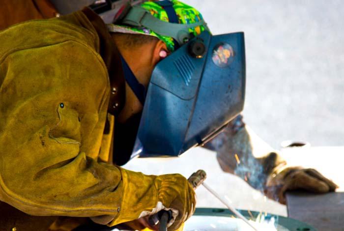 A LANL craft welder at work on a recent construction project.