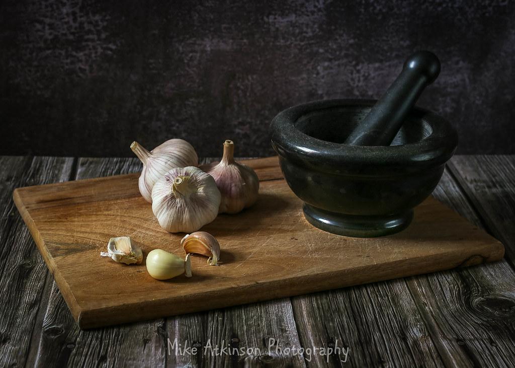 Garlic, Pestle & Mortar Still Life