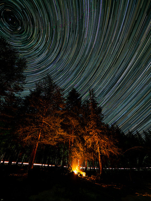 Star trails with fire and ice
