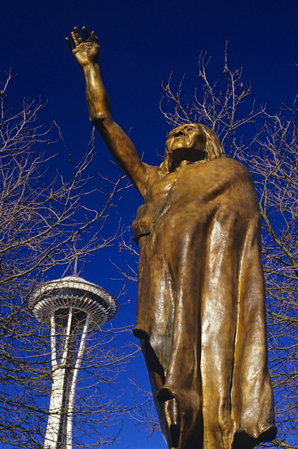 Space Needle and Chief Selth with arm raised, artist James Wehn, Seattle Washington State