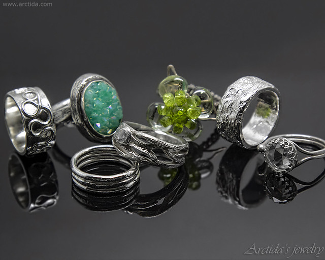 Handmade sterling silver rings inspired by northern nature