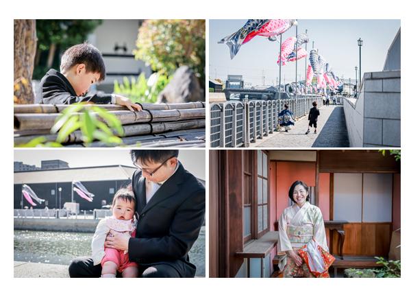 愛知県半田市でロケーション撮影 鯉のぼりの季節 ママもお着物