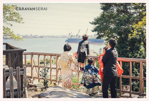 海を見下ろす神前神社でお宮参りと七五三 愛知県半田市