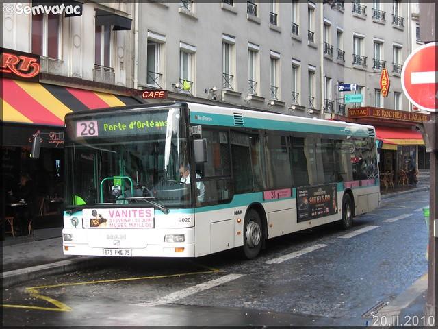 Man NL 223 – RATP (Régie Autonome des Transports Parisiens) / STIF (Syndicat des Transports d'Île-de-France) n°9020
