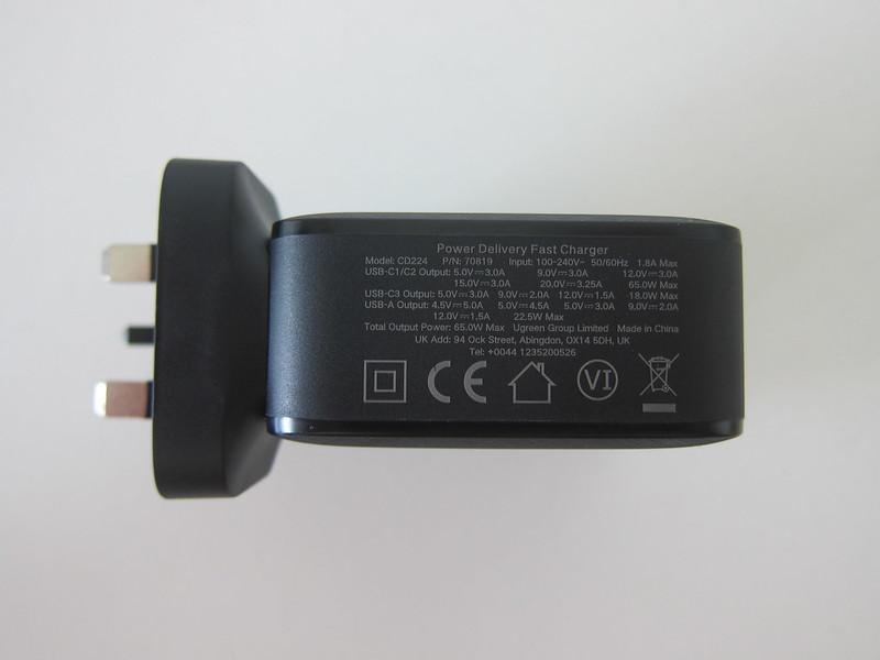 Ugreen 65W GaN Triple USB-C Plus USB-A Charger - Bottom