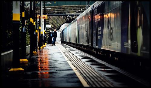rain lea green biomass freight commute commuter station light weather wet drax platform reflections