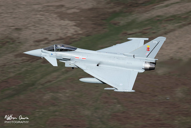 RAF Typhoon FGR.4 ZK376 low level in Northern England