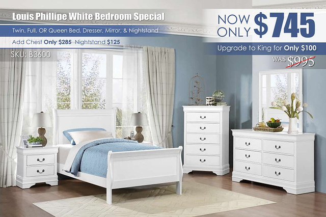Louis Phillipe White Youth Bedroom Special_B3600_2021