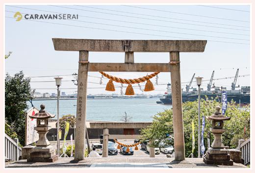 海を見下ろす神前神社 愛知県半田市