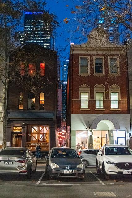 Lonsdale Street Melbourne at blue hour