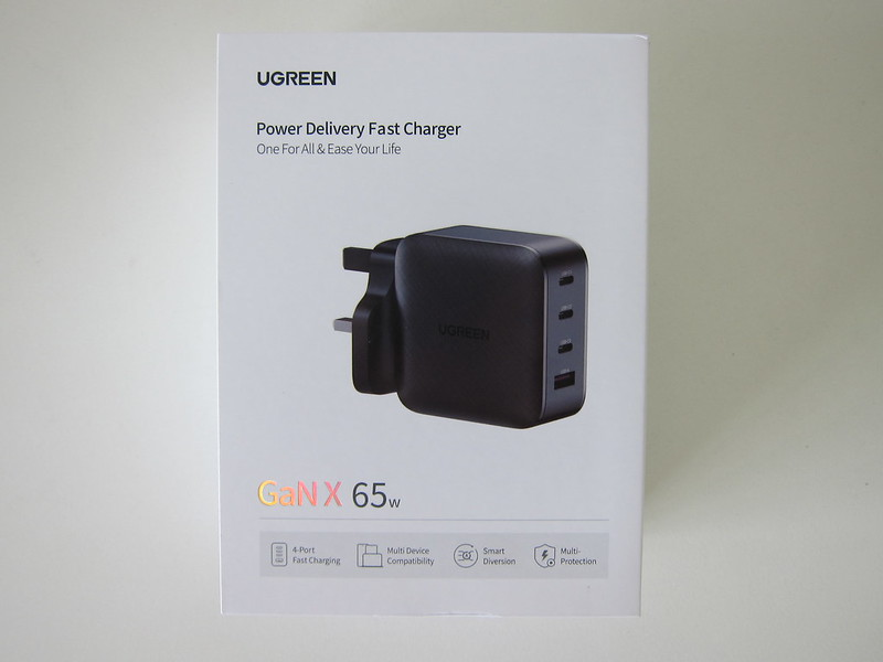 Ugreen 65W GaN Triple USB-C Plus USB-A Charger - Box Front