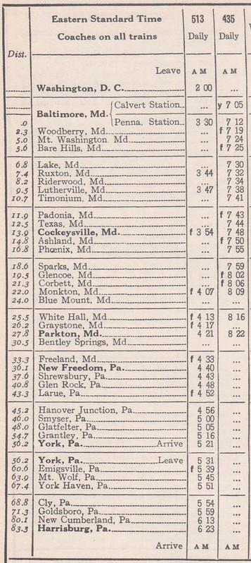 PRR 1942 Baltimore Harrisburg Schedule