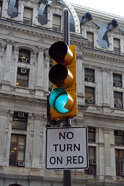 Traffic Light in front of Philadelphia City Hall in the Center City of Philadelphia, PA