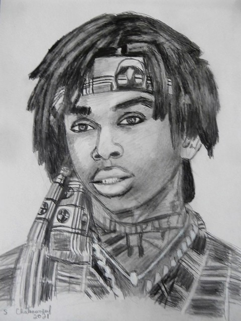 Polo G. - Pencil Drawing by STEVEN CHATEAUNEUF (2021)