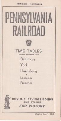 PRR 1942 Baltimore Harrisburg Cover