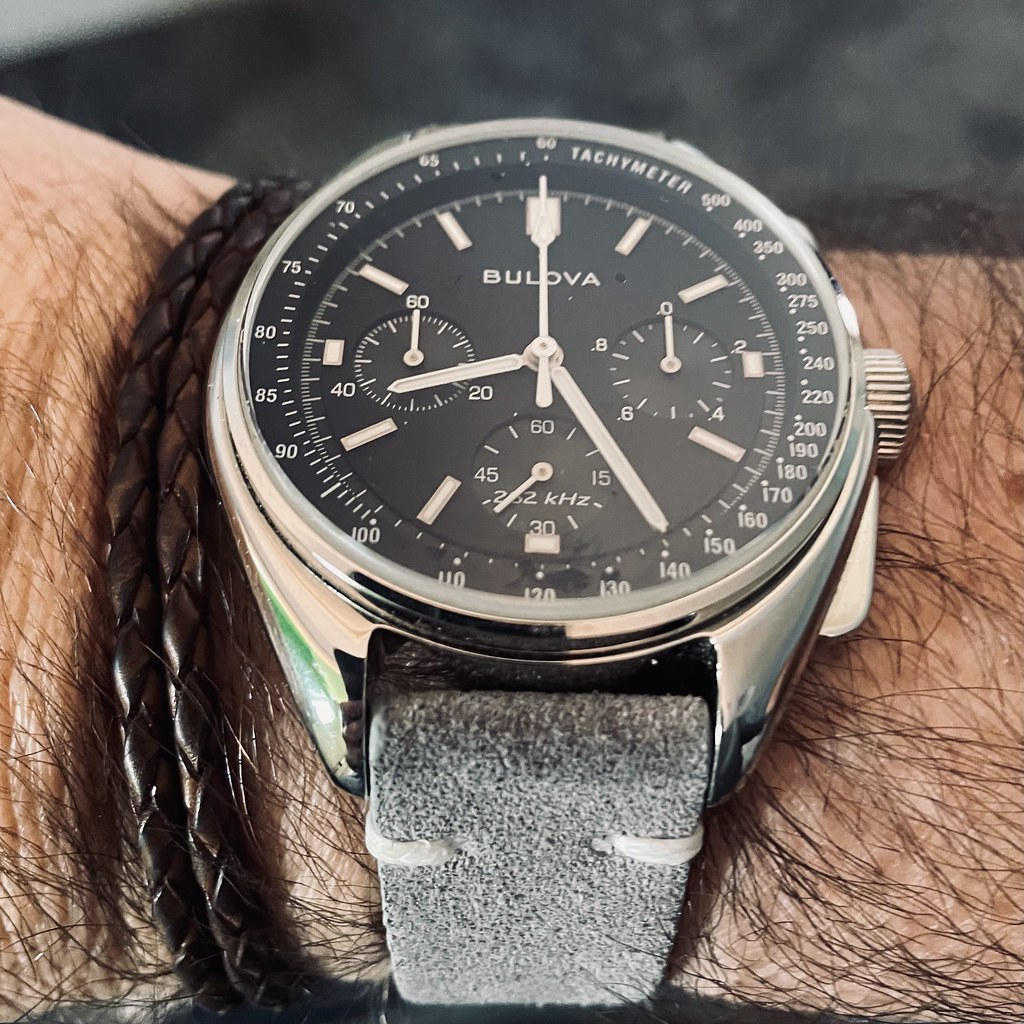 Bulova Lunar Pilot on grey suede
