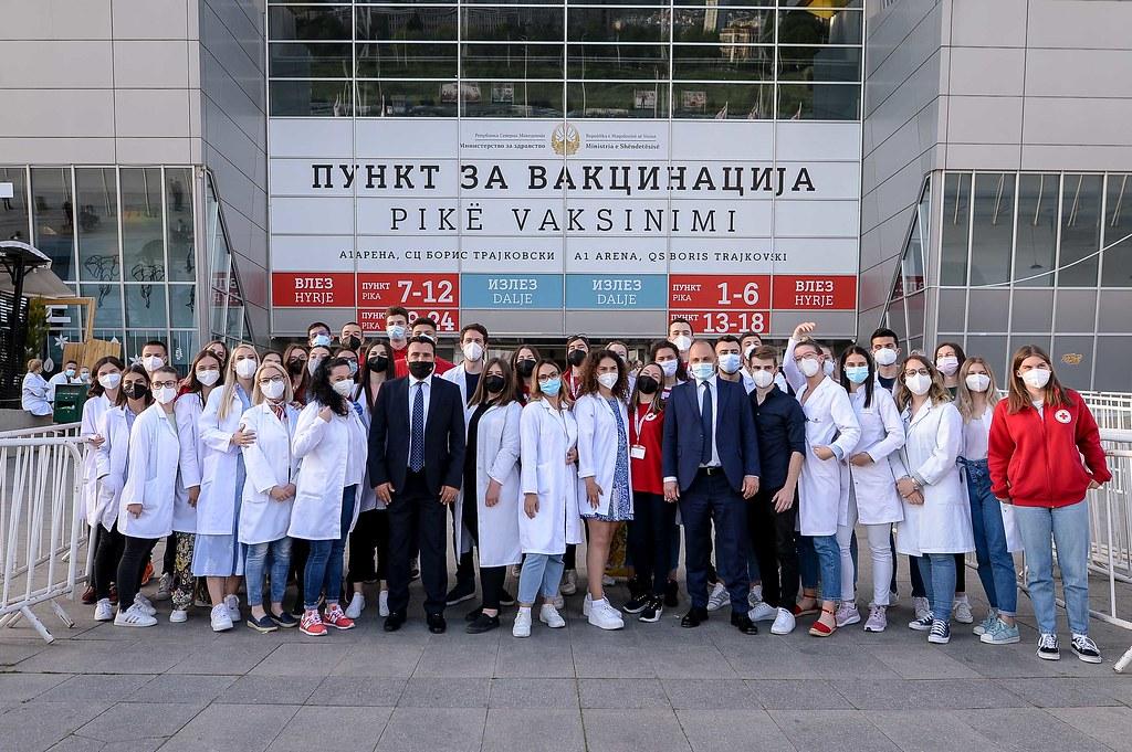 Премиерот Заев, еврокомесарот Вархеји и австриската министерка Едштадлер на заедничка прес-конференција
