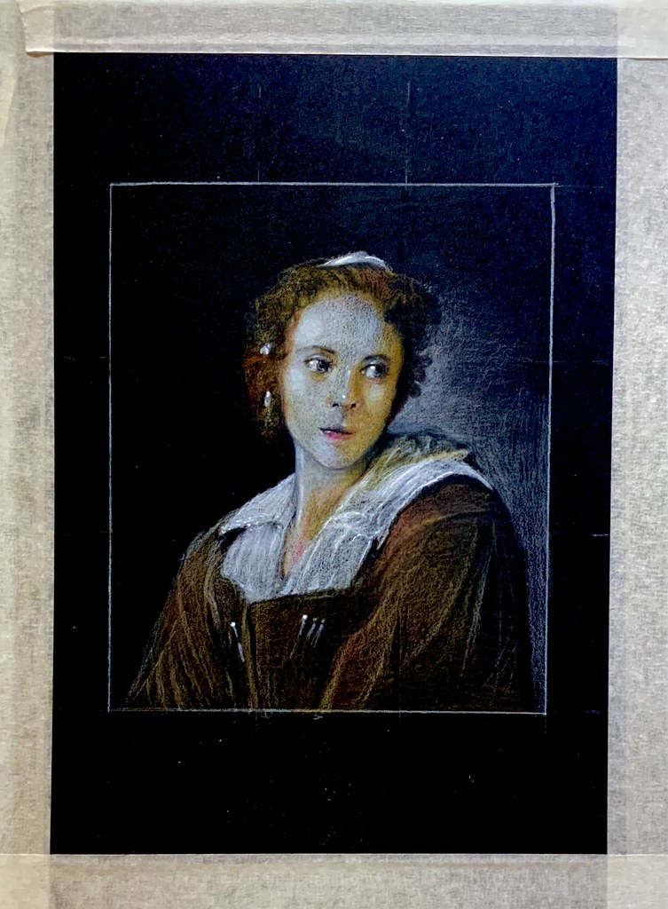 My version of a painting by Michael Sweerts. 1618-1664. Flemish Painter.  Polychromos Pencil drawing by jmsw on black card, highlights in Gouache. Last stage of 4.