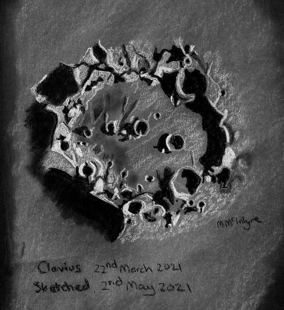 Lunar Crater Clavius Pastel Sketch 02/05/21