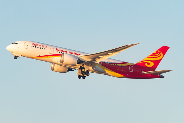 Hainan Airlines B788 leaving Brussels at the end of the afternoon