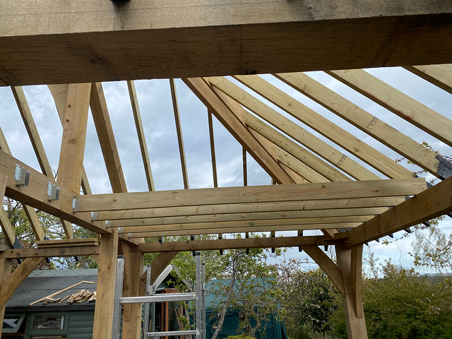 Half the joists in place