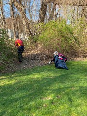 In honor of Earth Day, State Representative Mike France (R-42) and a small group of dedicated volunteers armed with gloves, rakes and trash bags descended on Ledyard's Aljen Heights Park last weekend to clean up debris and litter.