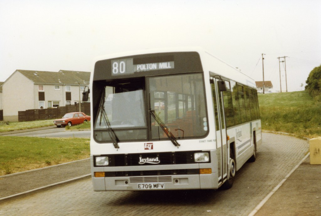 1988-06-25 - Leyland Lynx Demonstrator E709MFV on Service 80 at Polton Mill terminus