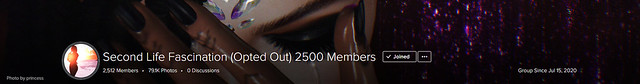 Thank you so much Second Life Fascination (Opted Out) 2500 Members for group cover 💛