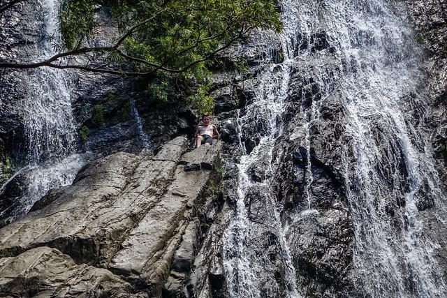 Ezra climbs up, Hartleys Creek Falls, Macalister Range National Park, Far North Queensland