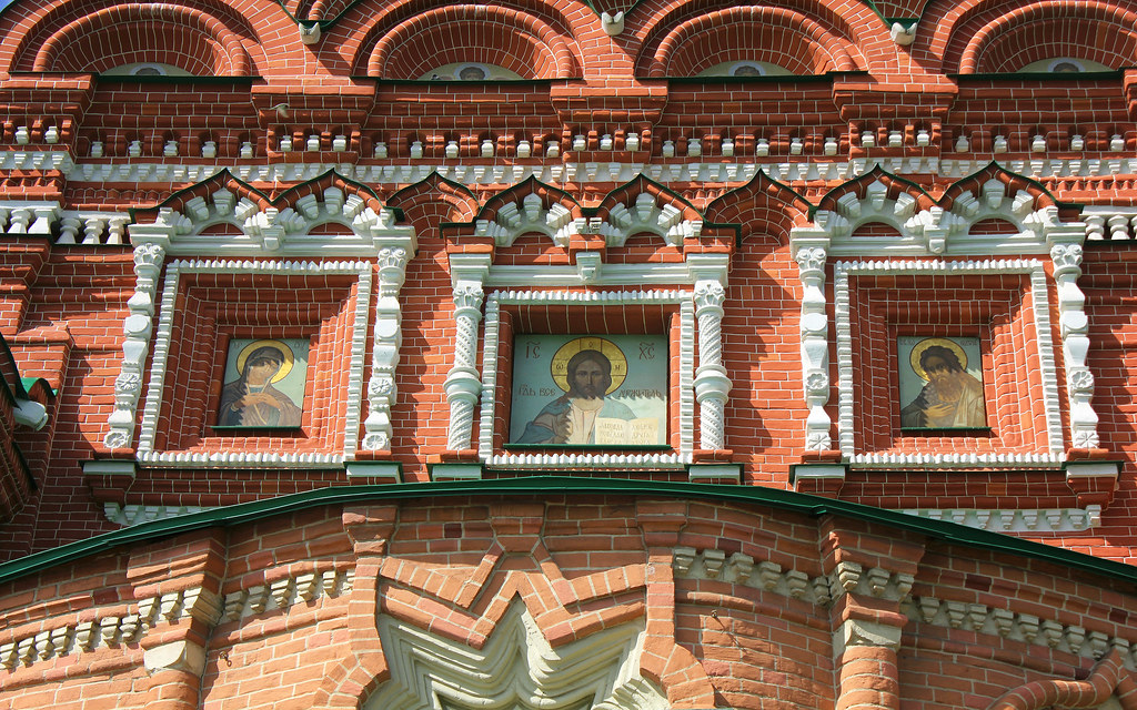 Russian Federation, Orthodox Moscow, the fragment of the Life-giving Trinity Church in Ostankino (founded in 1558, built in 1692),  First Ostankinskaya Street, Ostankinsky district.  Православнаѧ Црковь.