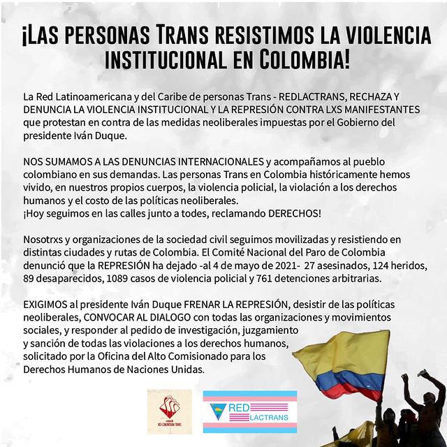 SOS Colombia Repudio de la RedLacTrans