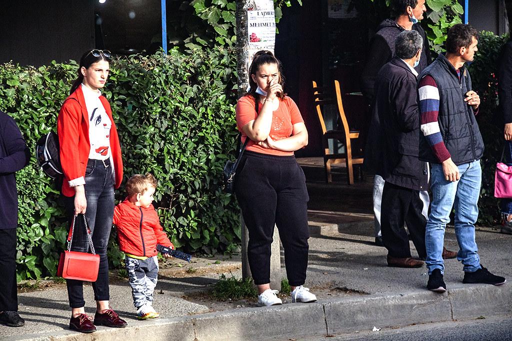 Bus stop on 5-2-21--Tirana