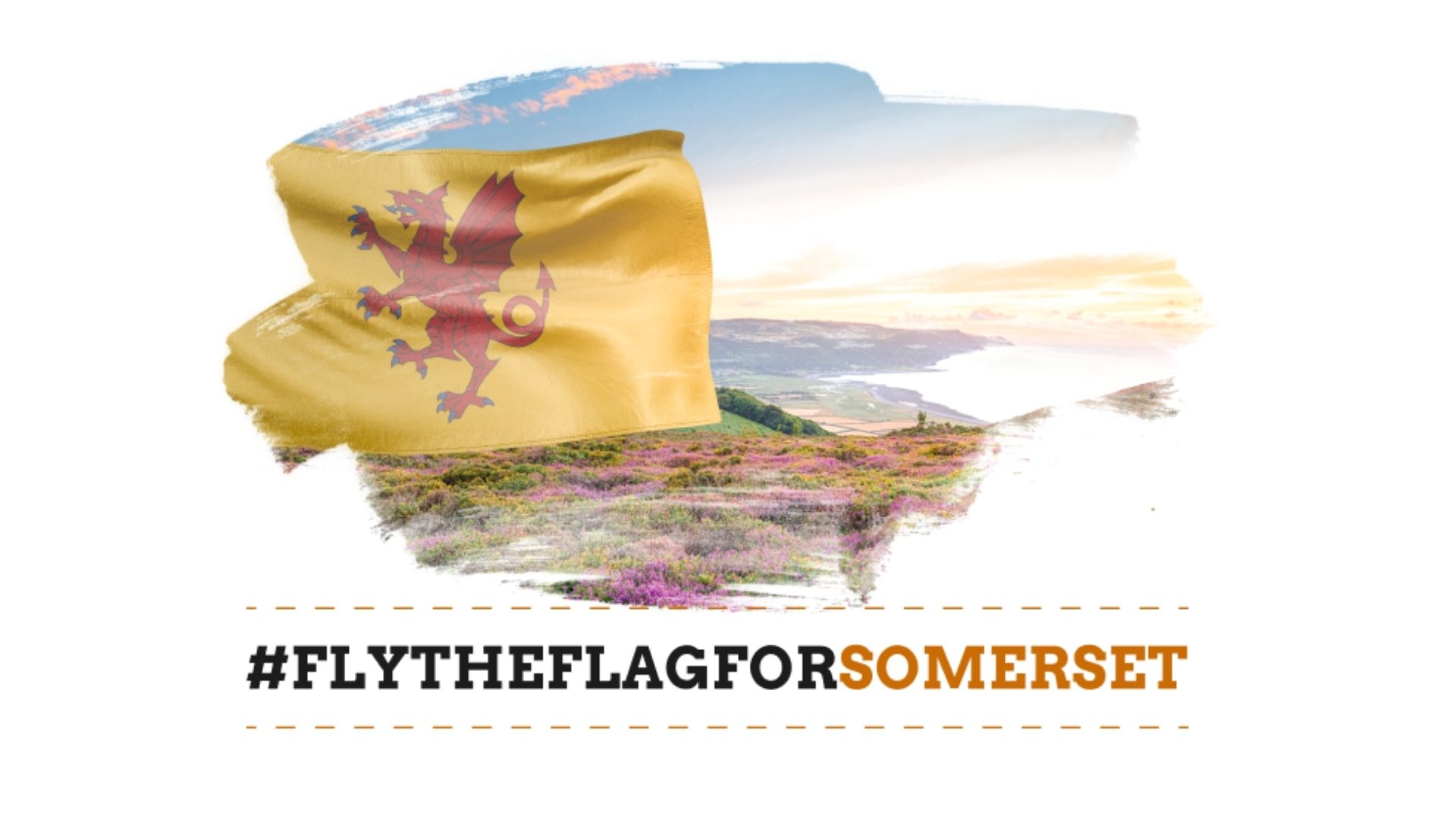 Picture of the Somerset flag and a country background